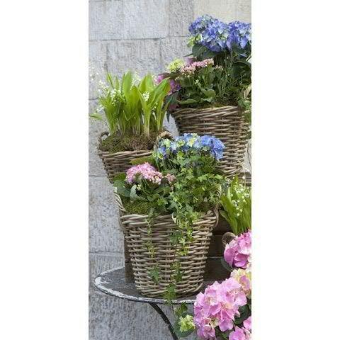 Textilbanner - Thema: Frühling / Sommer - Hortensienkörbe - 180cmx90cm - Banner zum Hängen & Dekorieren