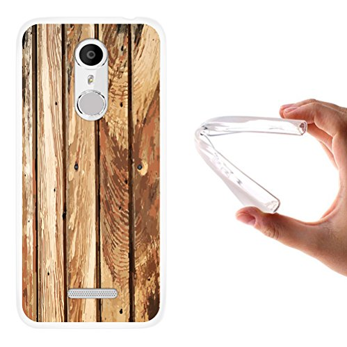 WoowCase Coolpad Torino S Hülle, Handyhülle Silikon für [ Coolpad Torino S ] Naturales Holz Handytasche Handy Cover Case Schutzhülle Flexible TPU - Transparent