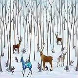 YiShuQiang Wallpaper Fototapeten Winter-Schnee-Gebirgsoter Baum-Tierwand-Aufkleber-Ausgangswand-Dekoration Wandbilder Wohnzimmer Schlafzimmer Büro Flur Dekoration Fototapetens
