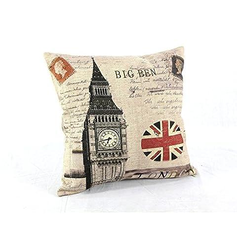 amyjazz Londres Big Ben Union Jack carré Couvre-lit en coton taie d'oreiller décoratif Housse de coussin pour canapé