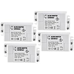 YAYZA! 4-Paquete Transformador de Conductor LED de Bajo Voltaje IP44 12V 1A 12W Fuente de Alimentación Conmutada de CA/CC