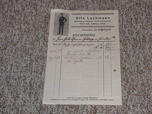Rechnung Otto Lachmann. Anfertigung eleganter Herren-Garderobe.