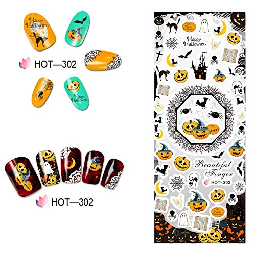 CartoonPrintDesign - Nagel Sticker XL Water Transfer Sticker Nailart Wasser Nagelsticker Nagel Tattoo Nagelaufkleber Halloween Kürbis Cartoon Design - H302