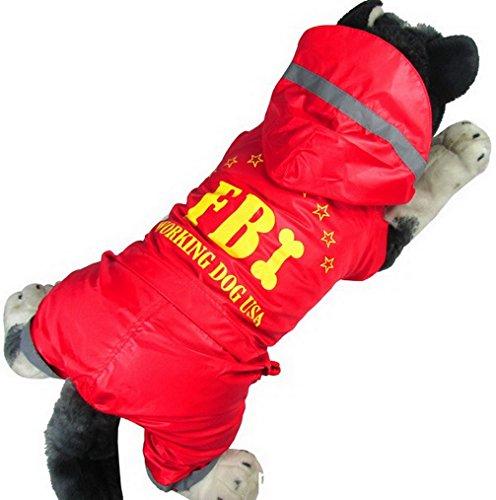 Fleece Military Blanket (ranphy Medium Hund Regenmantel Doggy Kleidung FBI Buchstabe Mantel Print Welpen Wasserdicht mit Kapuze Hund Overall)