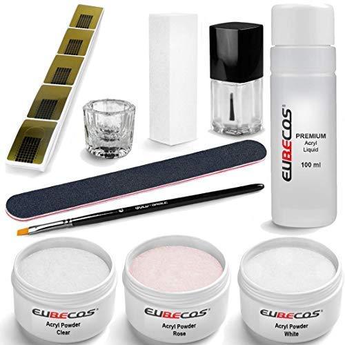 EuBeCos Acryl Nagel und Starter Set PLUS Liquid 100ml Acrylpuder weiss klar rosa 90g + Anleitung ideales 10-TEILIGES STARTERSET! MADE IN GERMANY