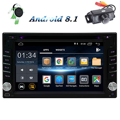 Android 8.1 Auto-Stereo-Radio-Empf?nger-System Doppel-DIN-Head Unit Touch Screen LCD mit Backup-Kamera-Monitor, USB, SD, Bluetooth und GPS-Navigation, CD DVD-Player, MP3-Wiedergabe, AM FM RDS Radio