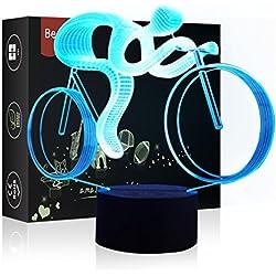 Luz de Noche LED Ilusión 3D Lámpara de Mesa de Cabecera 7 colores Cambiando la iluminación de dormir con el botón de tacto inteligente Lindo regalo de calentamiento actual Decoración creativa ideal de arte y artesanía (Bicicleta)