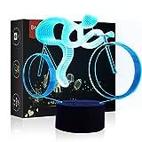 HeXie LED Nacht Lichter 3D Illusion Nachttisch Lampe 7 Farben ändern Schlafen Beleuchtung mit Smart Touch Button Nette Geschenk Warming präsentieren kreative Dekoration ideale Kunst (Fahrrad)