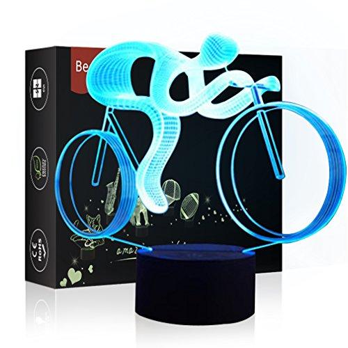 (HeXie LED Nacht Lichter 3D Illusion Nachttisch Lampe 7 Farben ändern Schlafen Beleuchtung mit Smart Touch Button Nette Geschenk Warming präsentieren kreative Dekoration ideale Kunst (Fahrrad))
