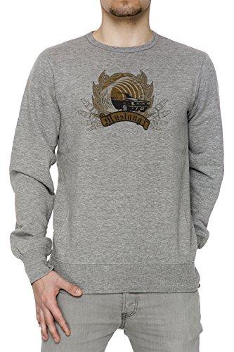 Mustang Uomo Grigio Felpa Felpe Maglione Pullover Grey Men's Sweatshirt Pullover Jumper