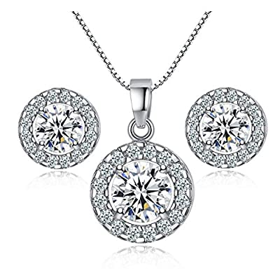 TaoNaisi New 925 sterling silver Crystal wedding necklace earring jewelry set charm women by TaoNaisi