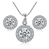 TaoNaisi New 925 sterling Silver Crystal collana matrimonio orecchini Jewelry Set charm da donna