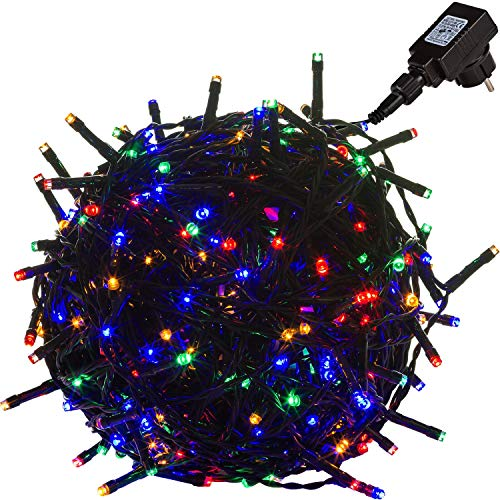 VOLTRONIC 50 100 200 400 600 LED Lichterkette für Innen und Außen (Bureau Veritas GS Geprüft), Dekra GS Adapter, IP44, Farbwahl