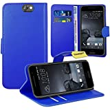 HTC One A9 Handy Tasche, FoneExpert® Wallet Case Flip Cover Hüllen Etui Ledertasche Lederhülle Premium Schutzhülle für HTC One A9 (Blau)