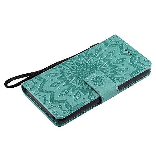 Für Wiko Lenny 3 Fall, Prägen Sonnenblume Magnetische Muster Premium Soft PU Leder Brieftasche Stand Case Cover mit Lanyard & Halter & Card Slots ( Color : Red ) Green