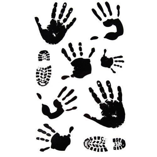 3Pcs Gravures de paumes&chaussures Tatouages temporaires imperméable