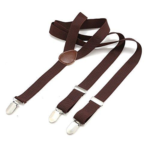 Bretelle dondon uomo sottili 2,5 cm - 3 clips a y - elastiche con regolabili - marrone