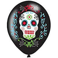 Halloween Sugar Skull Day Of Dead Black Latex Helium Balloons 6 Pack Decoration