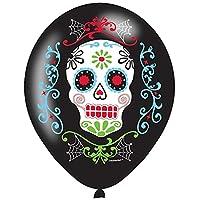 Halloween Sugar Skull Day Of Dead Black Latex Helium Balloons 6 Pack Decoration