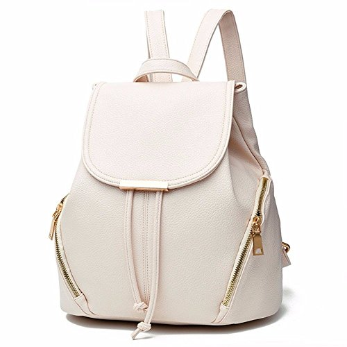 Gxinyanlong Fashion Leder Rucksack Schultertasche Mini Rucksack für Frauen, Weiß