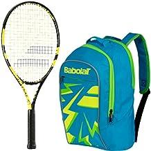 Babolat Nadal Junior Raqueta de tenis (amarillo/negro) con un paquete de niño