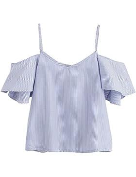 IMJONO Mujeres Verano Blusa Pinstripe Fría Top hombros