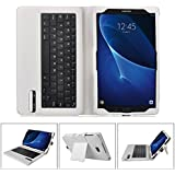IVSO Funda de Cuero con Teclado Bluetooth para Samsung Galaxy Tab A 10.1 2016 T580N/T585N Tablet - con Removable Keyboard(Blanco)