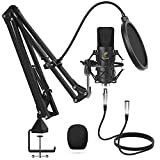 XLR condensatormicrofoon, TONOR professionele cardioid studio microfoon kit met T20 giekarm, schokbevestiging, popfilter voor opname, podcasting, voicover, streaming, home studio, YouTube (TC20)