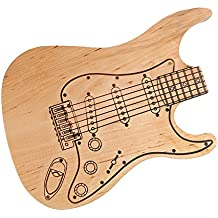 Tabla de cortar Guitarra Eléctrica - Tabla de cocina – Tabla para el desayuno – De aliso – Grosor: 2 cm – Con grabado oscuro – Tratado con aceite