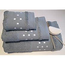 Lunares Toallas De Baño–3piezas Set–Hoja de baño + toalla de mano + toalla para la cara (–gris w/blanco