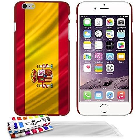 Carcasa Rigida Ultra-Slim APPLE IPHONE 6S PLUS de exclusivo motivo [Espana Bandera] [Roja] de MUZZANO + 3 Pelliculas de Pantalla UltraClear + ESTILETE y PAÑO MUZZANO® REGALADOS - La Protección Antigolpes ULTIMA, ELEGANTE Y DURADERA para su APPLE IPHONE 6S PLUS