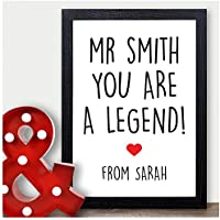 Personalised Funny Teacher Gifts For Teachers Teaching Assistants Novelty Gifts - Thank You Gifts for Teachers, Teaching Assistants, TA, Nursery Teachers - ANY RECIPIENT from ANY NAME - A5, A4, A3 Prints and Frames - 18mm Wooden Blocks - FREE Personalisation