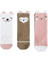 ANIMQUE 3 pares calcetines de algodón largos para bebé 0-36 meses niños niñas calcetines