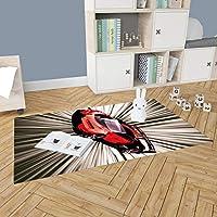 Çocuk Odası Oyun Halısı, Kaymaz Tabanlı Halı ve Kilimler, Yarış Arabası-2 Desenli Kız Erkek Çocuk Odası Halısı, Bebek Odası Halısı (60x100 cm)