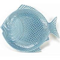 Plato Pez - Pescado Azul - 27 x 24 cm - Céramica Artesanal - Hecho en