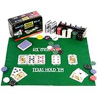 Nexos Pokerset 200 Pokerchips Spielmatte Pokerkarten Geschenkbox aus Metall 2 Decks, Dealer Button, Small Blind, Big Blind, Pokerkarten in Geschenk-Box aus Metall