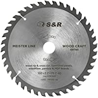 S&R Hoja Sierra Circular Madera 160 mm x 20 mm (+ 16 mm anillo) x2,2mm 48D / Disco de Corte Madera. Calidad profesional