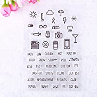 Sellos de goma de Calistouk transparentes con símbolos y textos de acciones cotidianas en inglés