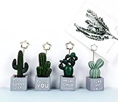URTop 4Pcs Mini Cactus Card Holder Photo Clip Name Note Memo Stand Office Supply Home Decoration Desk Small Clamps Stand...