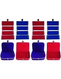 Afrose Combo 2 Pc Blue Earring Folder 2 Pc Red Ear Ring Box 2 Pc Blue Ring Box And 2 Pc Red Ring Jewelry Vanity...