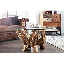 DuNord Design Couchtisch Glastisch Treibholz Tisch Rund BOGOTA 90cm Teakholz Massiv