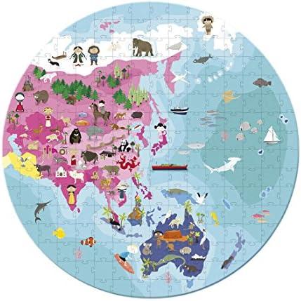 Lasse Spela Janod – Jouet en bois – Puzzle Puzzle Puzzle Valise Puzzle Unser Planet beidseitig 208 pièces, multicolore 63386f