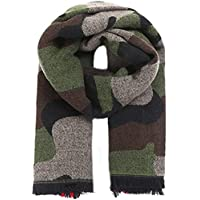 TAOtTAO Softer Than Cashmere Wool Touch Tassel Ends Camouflage Check Solid Scarf