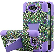 Funda LG Optimus L90, Funda con soporte MPERO IMPACT Serie X de doble capa híbrida de silicona y policarbonato, robusta y duradera, resistente a golpes para Optimus L90 [Ajuste perfecto y recortes de conectores precisos] - Purple Rainbow Leopard