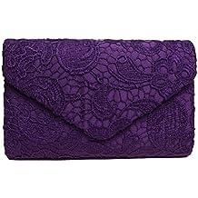 53c0c32d7 Sumaju - Bolso de mano clutch con detalles de encaje y florales para mujer.  Bolsos