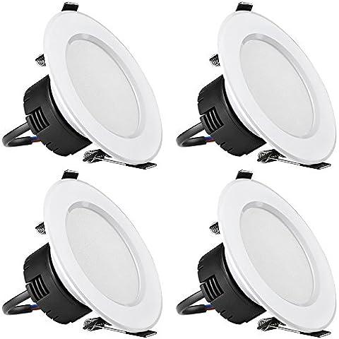 LE Focos empotrables LED 6W = 50W Halógena Blanco cálido, Transformador Integrado, Pack de 4