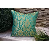 "Premium Quality ""PURE BROCADE TURQUOISE GREEN & GOLDEN MUGHAL CLASSIC DESIGN"" Decorative Cushion Covers (Set Of 2) (12""x 12"" Inches I.e 30x30 Cms)- By Royal DecoFurnishing"