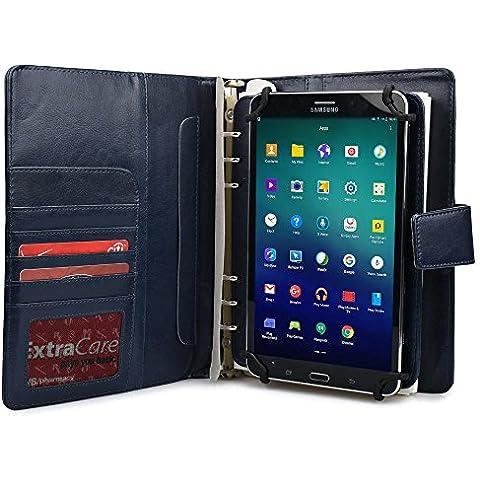 Samsung Galaxy Tab S2 8.0 (Wi-Fi T710/3G LTE T715) Funda con Cuaderno, COOPER FOLDERTAB Lujosa Funda protectora tipo Portfolio para Viajes y Negocios en Poliuretano con Cuaderno y Bolsillo para Tarjetas (Azul)