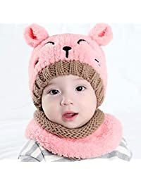 32c444a41d29 LUCHA 2 pcs Bébé Garçons Filles Hiver Chaud Tricot Chapeau Doux pour bébé  au Crochet Chat Mignon Bonnet Casquette Circle Écharpe…