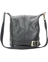 Schultertasche Rucksack 2in1 wandelbare Damen Handtasche Leder schwarz Rucksackhandtasche DrachenLeder Made in Italy OTF104S